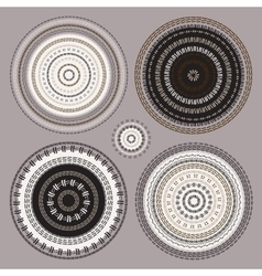 Hand drawn Circular pattern Mandala set vector image