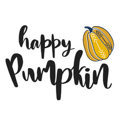 happy pumpkin hand drawn vector image