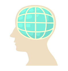 Head with globe icon cartoon style vector
