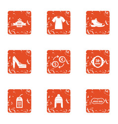 Hen icons set grunge style vector