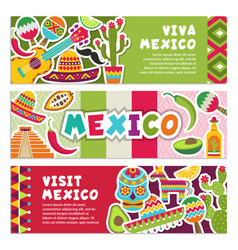 horizontal banners with mexican symbols viva vector image