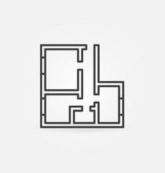 House or apartment plan concept line icon vector