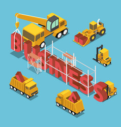 isometric construction site vehicles buildding vector image