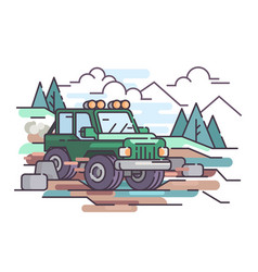 Journey on jeep off-road vehicle vector
