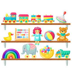 kids toys on shelves baby toys on wooden shelf vector image