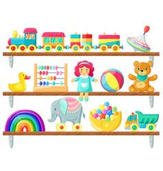 kids toys on shelves batoys on wooden shelf vector image
