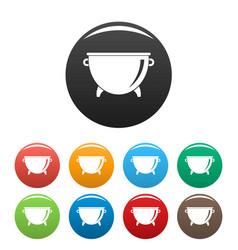 kitchen cauldron icons set color vector image