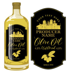 label for olive oil with countryside landscape vector image