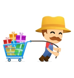 Man pulling shopping cart vector