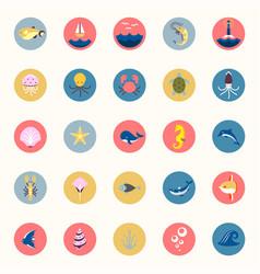 Marine icons set sea and ocean emblems flat vector