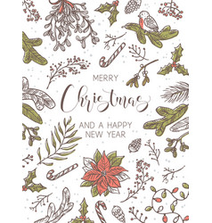 merry christmas and happy new year card or poster vector image