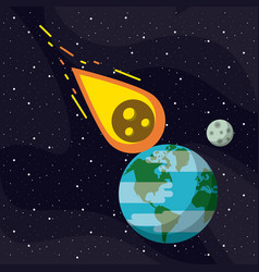 meteor flying to the earth vector image