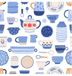 modern ceramics flat seamless pattern vector image
