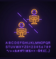 Multiplayer video game neon light icon vector