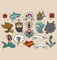 Nautical vintage colorful tattoos set vector