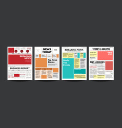 Newspaper cover set with headline images vector