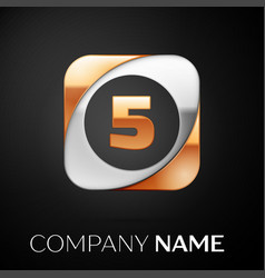 Number five logo symbol in the colorful square on vector