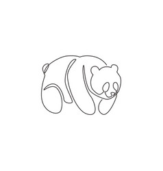 one single line drawing cute panda for company vector image