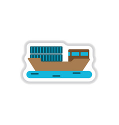 paper sticker on white background ship with vector image