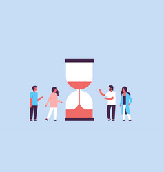 People group standing hourglass time deadline vector
