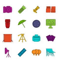 photo studio icons doodle set vector image