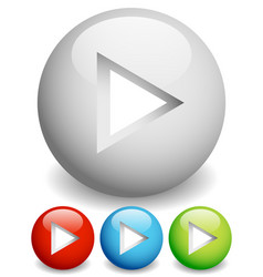 Play buttons - arrow cut in circles with 3d effect vector