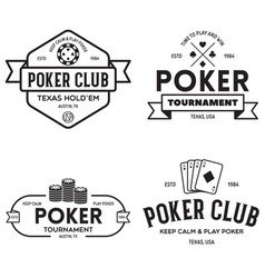 poker related labels emblems badges design vector image