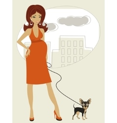Pregnant woman with little dog vector