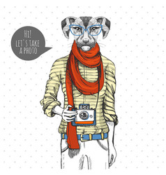 Retro hipster animal dog with photo camera woman vector