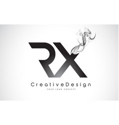 Rx letter logo design with black smoke vector