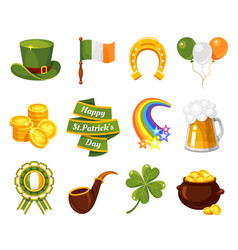 saint patricks day flat set vector image