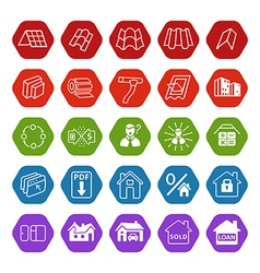 Sale buildings materials roof facade site icons vector