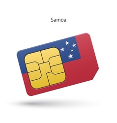 Samoa mobile phone sim card with flag vector