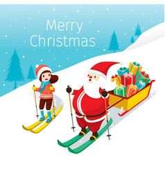 Santa claus with gifts bag and girl skiing vector
