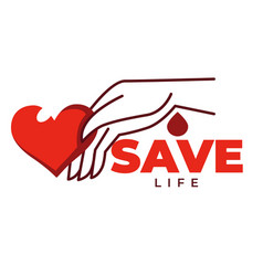 save life isolated icon heart and hand charity vector image