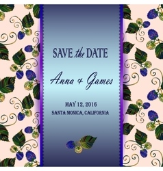 Save the date card with blackberry vector image