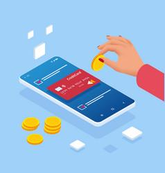 Saving money isometric concept cashback vector