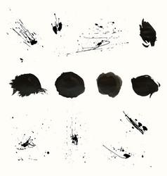 Set artistic ink watercolor splashes vector