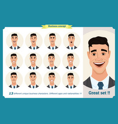 set of male facial emotionsface expressions vector image