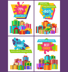 set of posters on exclusive labels on all products vector image
