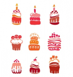 set pink cakes vector image