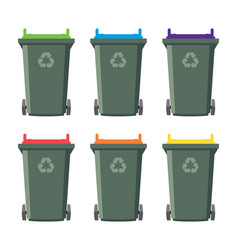 set recycling wheelie bin icons vector image