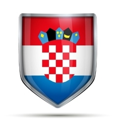 Shield with flag croatia vector