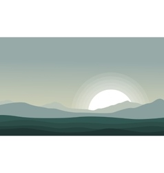 Silhouette of mountain at the morning scenery vector