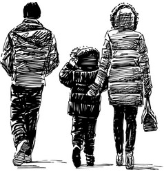 sketch a young family townspeople walking vector image