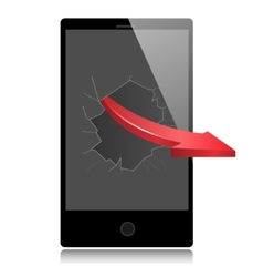 Smart phone and red arrow vector