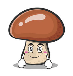 smile face mushroom character cartoon vector image