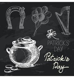 St Patricks Day hand drawn chalkboard design set vector image