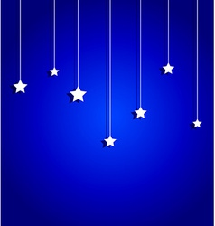 sweet hanging stars on blue sky background vector image
