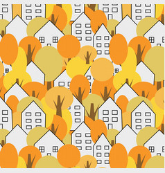 Trees and houses seamless pattern autumn fall vector